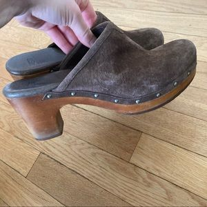 UGG brown suede leather heels studs clogs